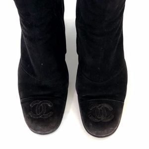 Chanel Dark Brown Suede Ankle Boots